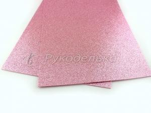 Фоамиран глиттерный. Светло-розовый. Премиум.