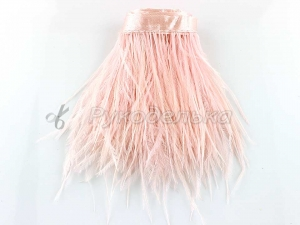 Перья страуса на ленте. Светло-розовые 6-10см.