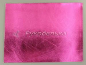 Кожзаменитель декоративный 22х16,5см. Ярко-розовый.