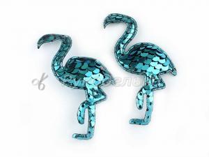 Патч 3D с пайетками. Фламинго. Голубой.