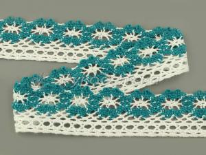 Кружево вязаное х/б.  Белое с бирюзовой вставкой. 27мм