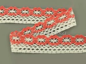Кружево вязаное х/б.  Белое с коралловой вставкой. 27мм