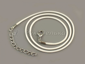Шнур вощеный белый с карабином. 40см. Основа для ожерелья.