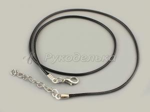 Шнур вощеный черный с карабином. 40см. Основа для ожерелья.