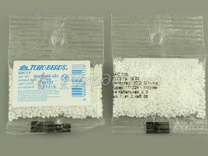 Бисер японский TOHO. 15/0. Белый (121). Непрозрачный жемчужный. 5гр.