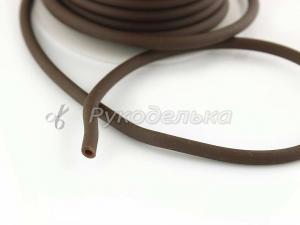 Шнур каучуковый полый для бижутерии 4х2мм. Темно-коричневый. 10см.