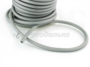 Шнур каучуковый полый для бижутерии 4х2мм. Серый. 10см.