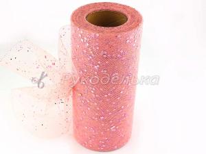 Фатин с пайетками 15см. Розовый персик