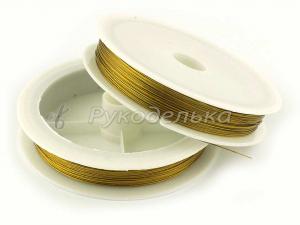 Тросик металлизированный (ювелирный) 0,45мм/100м. Золото.