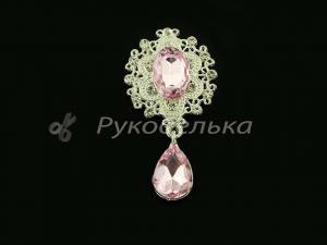 Серединка ювелирная с подвеской. Розовая.