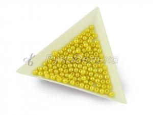 Бусины жемчуг стекло глянец 3мм. Светло-желтые. 20шт