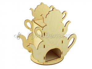Заготовка для декупажа. Чайный домик. Башня из чайников