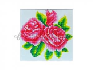 Алмазная мозаика 25х25см в тубе. Частичная выкладка. MM1047. Розы.