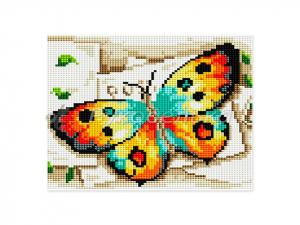 Алмазная мозаика 25х25см в тубе. Частичная выкладка. MM1132. Бабочка.