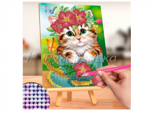 Алмазная мозаика 13х19см на мольберте. Частичная выкладка. Котик.
