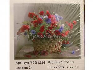 Картина по номерам 40х50см. RSB8226. Васильки и маки.