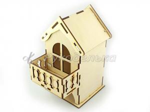 Заготовка для декупажа. Чайный домик малый с балконом.