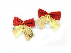 Бантик из ткани с блестками. 5см. Золото, красный.